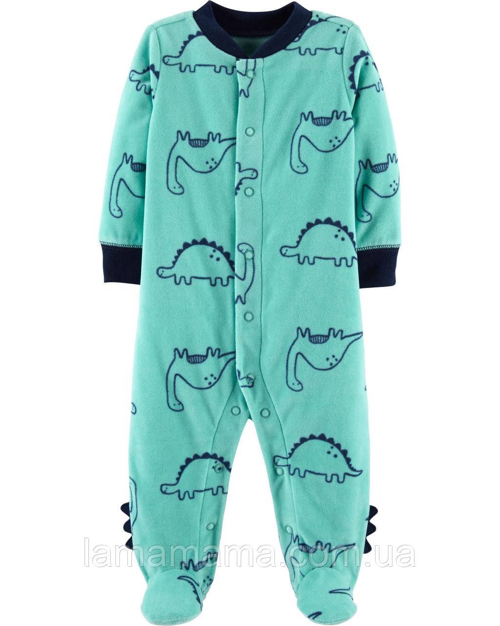 Флисовый слип человечек Дино Картерс Carter's Dinosaur Snap-Up Fleece Sleep & Play