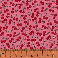 Вишенки, Розовый, хлопковая дизайнерская ткань для пэчворка. PS-24