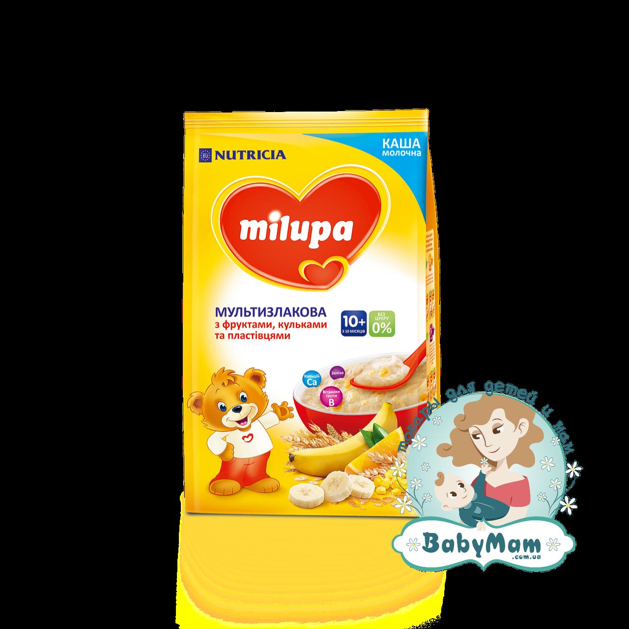 Каша молочная Milupa мультизлаковая с фруктами, хлопьями и рисовыми шариками, 10+, 210гр