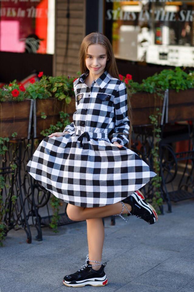 Нарядное платье для девочки клетка юбка солнце хлопок рост:134,140,146,152