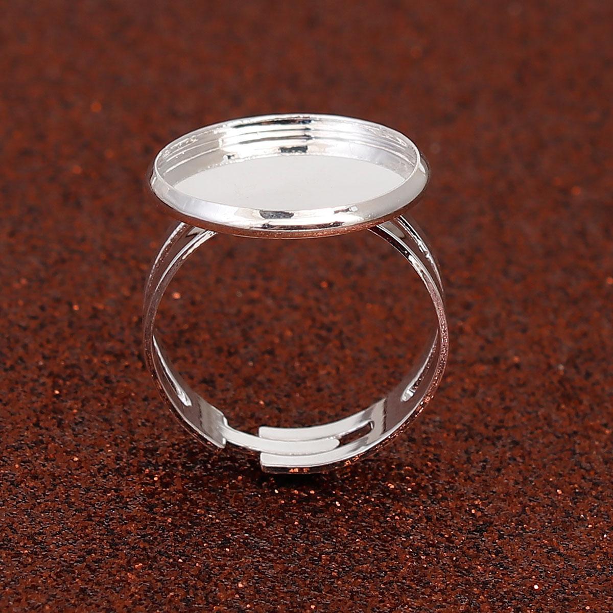 Основа для кольца, Регулируемая, Цвет серебристый, Размер 17.5 (Под вставку 16 мм)