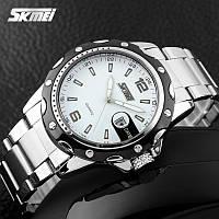 Skmei 0992 S ROBBY STEEL С белым циферблатом мужские классические часы