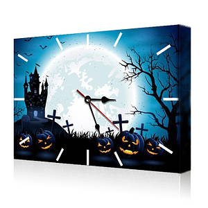 Часы на холсте с рисунком Жуткий Хеллоуин