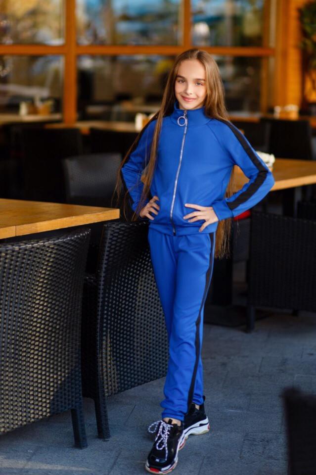 Спортивный костюм детский штаны+кофта сбоку лампасы итальянский трикотаж рост:134,14,146,152 см