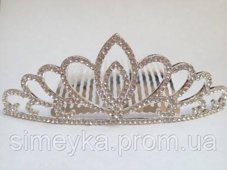Діадема (корона, тіара) на гребінці, довжина 10,5 см, висота 4 см