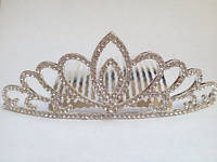 Діадема (корона, тіара) на гребінці, довжина 10,5 см, висота 4 см, фото 1