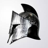 Шлем спартанца, коринфский шлем. Взрослый, серебро. Отличная копия!