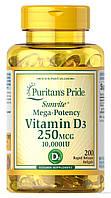 Puritan's Pride Vitamin D3 10,000 IU, Витамин D3 250 мкг (200 капс.)