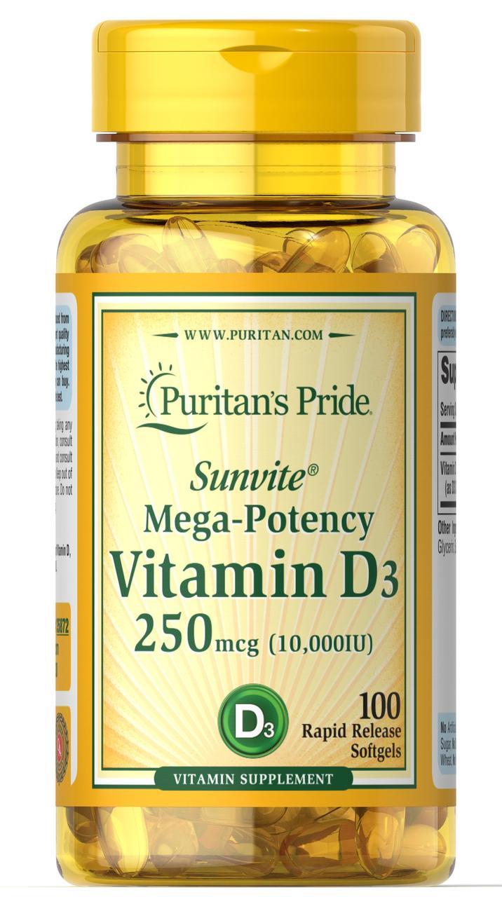 Puritan's Pride Vitamin D3 10,000 IU, Витамин Д3 250 мкг (100 капс.)