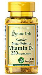 Puritan's Pride Vitamin D3 10,000 IU, Вітамін Д3 250 мкг (100 капс.)