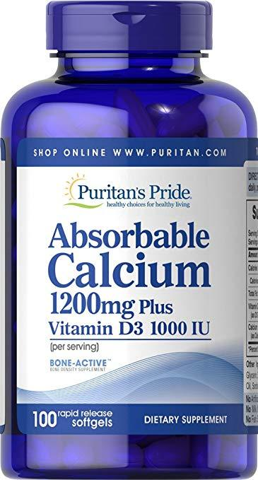Puritan's Pride Absorbable Calcium 1200 mg Plus vitamin D3 2,5 mg, Абсорбируемый кальцій + Д-3 (100 капс.)