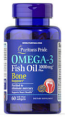 Puritan's Pride Omega-3 Fish Oil 1000 mg Plus Bone Support, Рыбий жир с витаминов D (60 капс.)
