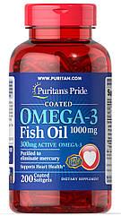 Puritan's Pride Omega-3 Fish Oil Coated 1000 mg, Рыбий Жир, (300 mg Active Omega-3) (200 капс.)
