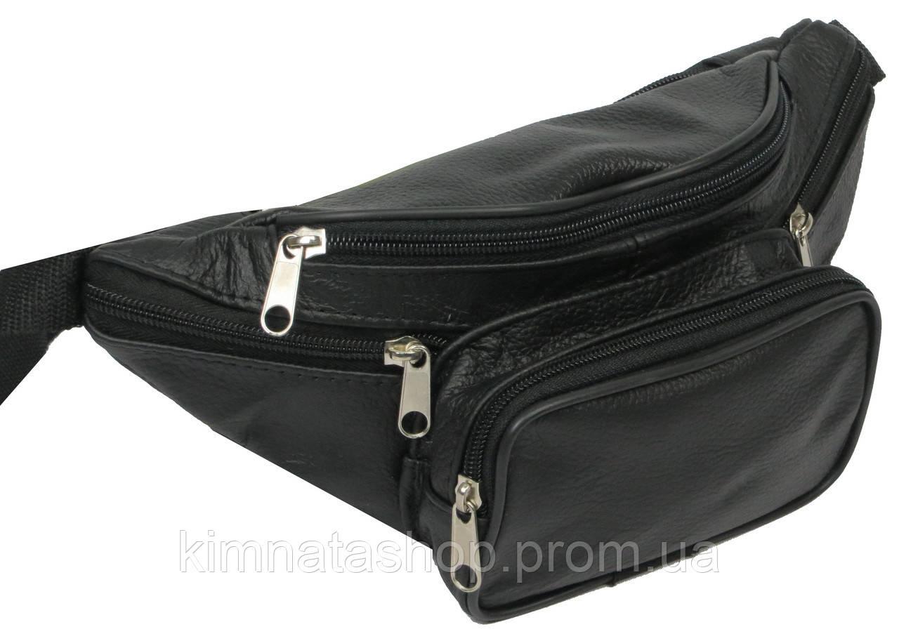 Чоловіча поясна сумка зі шкіри, чорна, kangur duzy 856333