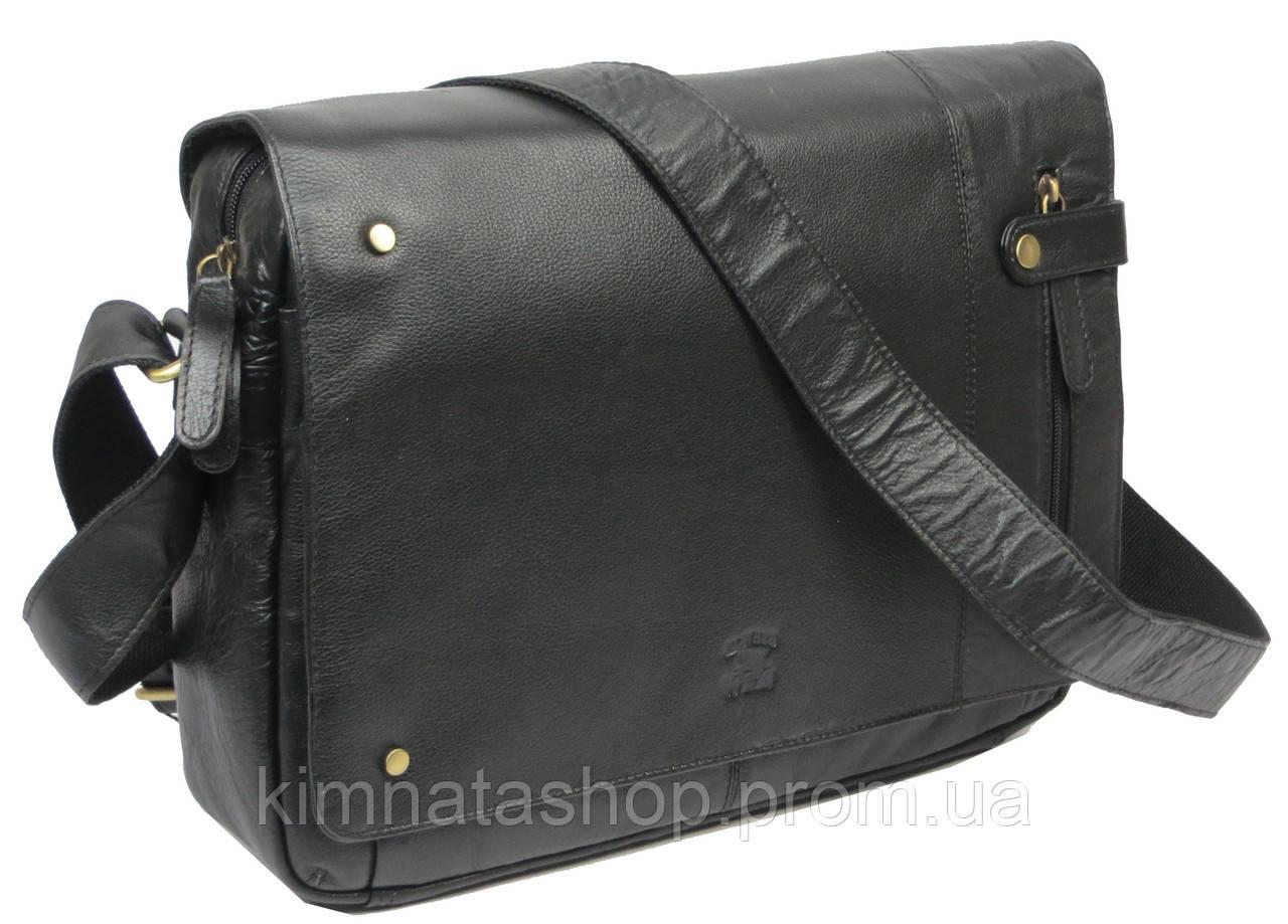 Кожаная сумка c клапаном  Always Wild 2207-001 черная