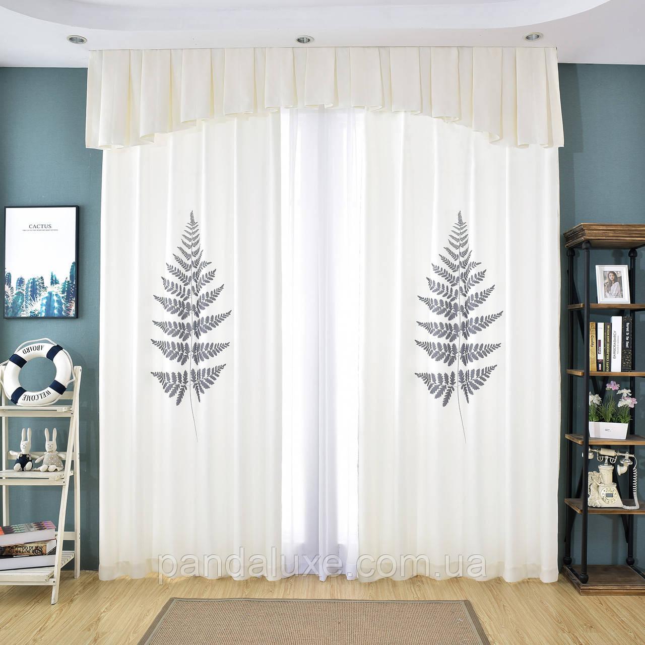 Красиві штори віконні сонцезахисні на тасьмі Папороть 185 х 265 2 шт.