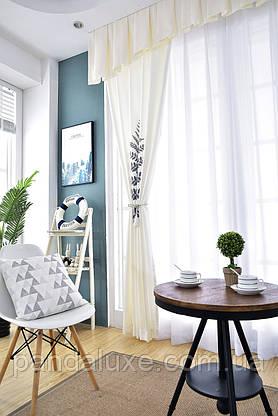 Красиві штори віконні сонцезахисні на тасьмі Папороть 185 х 265 2 шт., фото 3