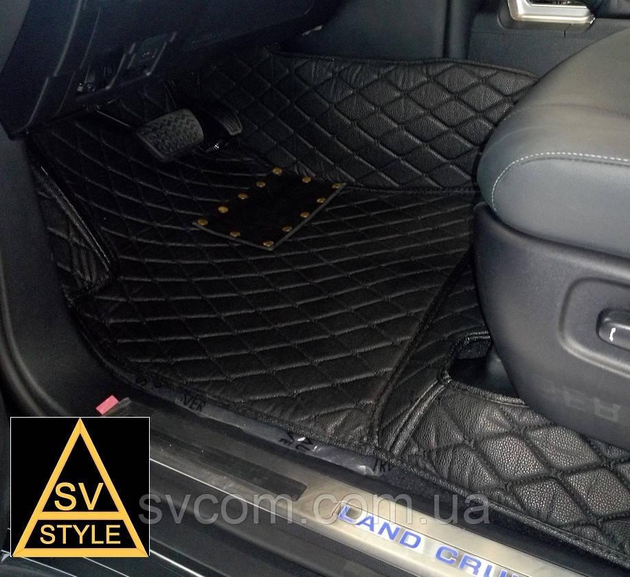 Коврики из Экокожи Toyota Land Cruiser 200 3D (2010-2017) Чёрные 7 мест