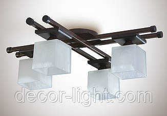 Люстра 4-х ламповая, металлическая, с деревом, спальня, зал, кухня, гостиная  14666-1