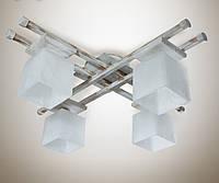 Люстра 4-х ламповая, металлическая, с деревом, спальня, зал, кухня, гостиная 14666-2