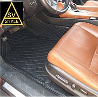 Коврики в салон Toyota Land Cruiser 200 Кожаные 3D (2010-2017) Чёрные 5 мест, фото 1