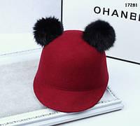 Шляпа с мехом кролика для девочки. 52 см, фото 1