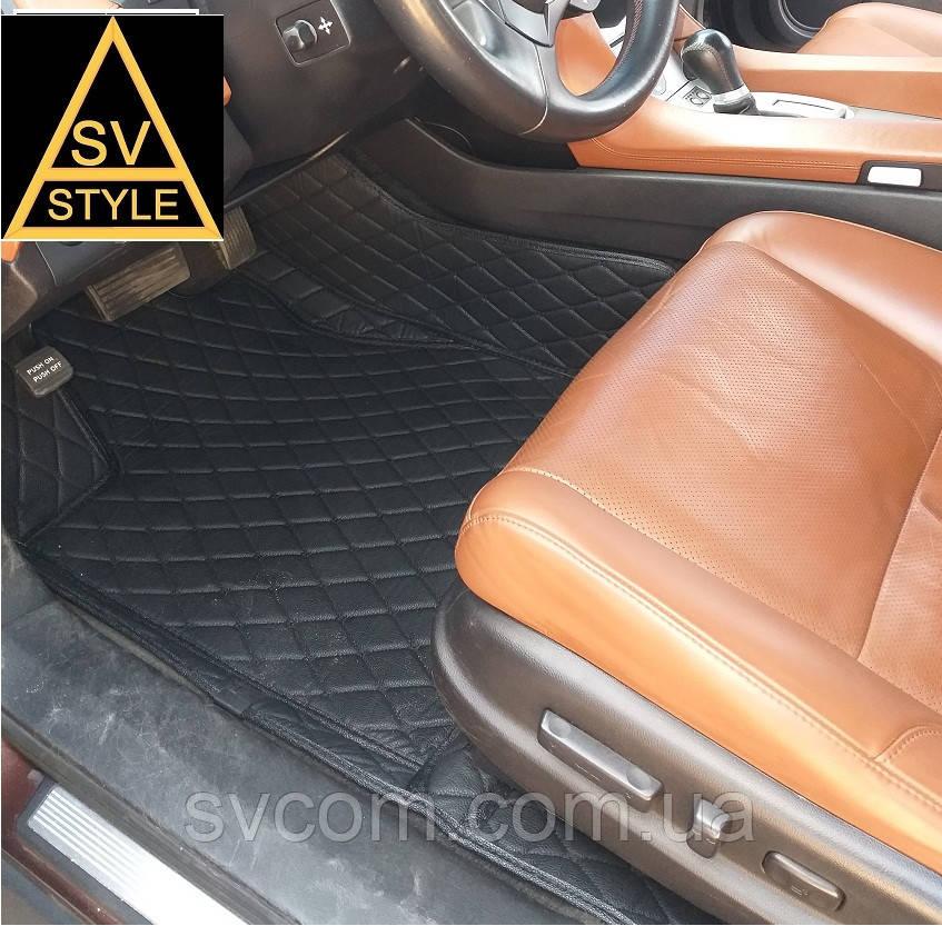 Коврики из экокожи Volkswagen Touareg 3D (2002-2010) Чёрные