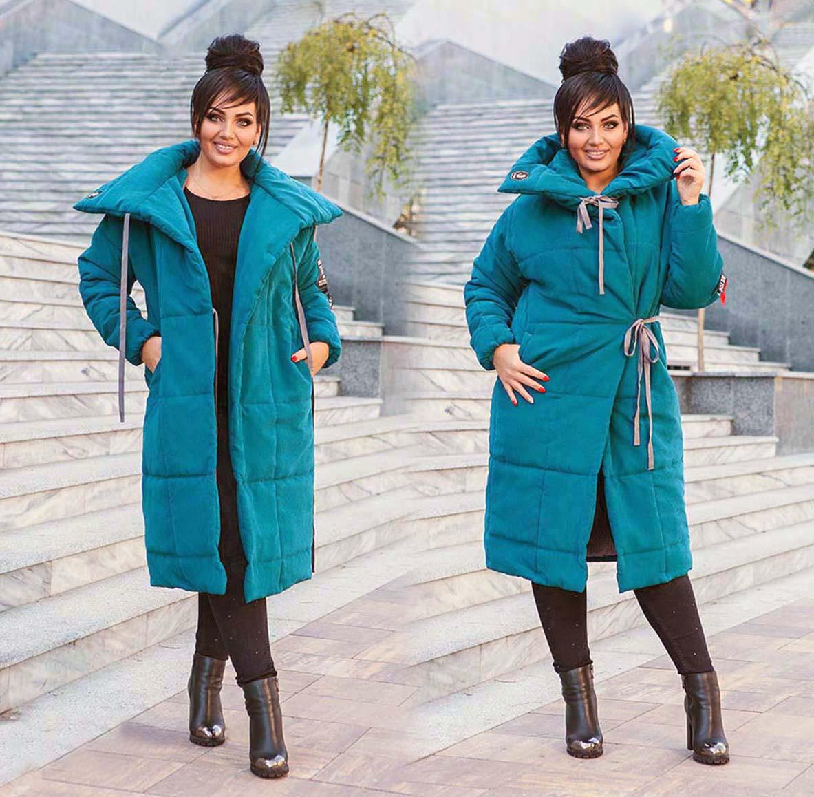 """Женское тёплое пальто на силиконе в больших размерах 498 """"Парка Завязки"""" в расцветках"""