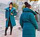 """Женское тёплое пальто на силиконе в больших размерах 498 """"Парка Завязки"""" в расцветках, фото 3"""