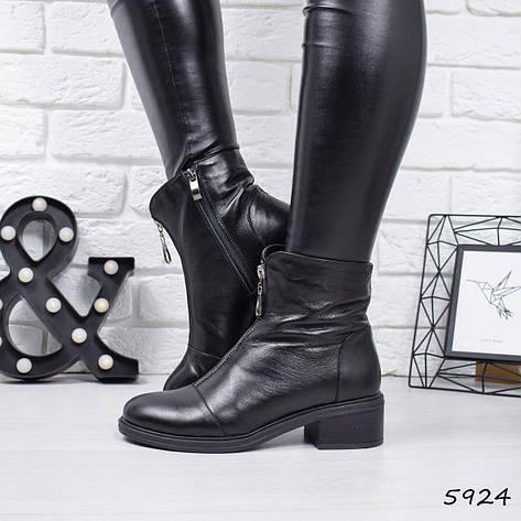 """Ботинки, ботильоны черные ЗИМА """"Zeline"""" НАТУРАЛЬНАЯ КОЖА, повседневная, теплая, зимняя, женская обувь, фото 2"""