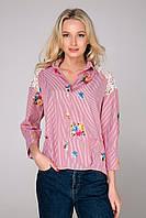 Donna-M Рубашка в полоску с цветами NINA розовая , фото 1