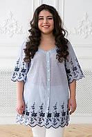 Donna-M Блуза в народном стиле с синей вышивкой БЕАТА , фото 1