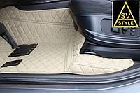 Коврики из Экокожи Toyota Land Cruiser 200 3D (2010-2017) Бежевые 5 мест, фото 1