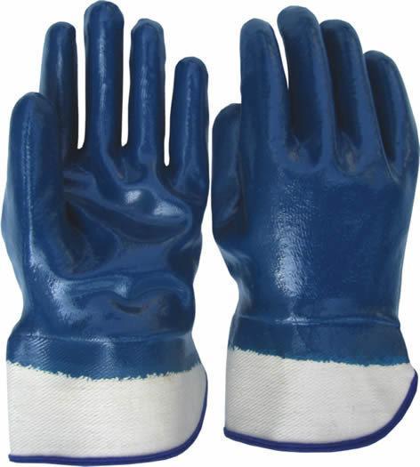 Перчатки рабочие с полным покрытием нитрила, МБС, жесткий манжет