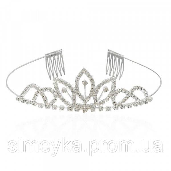 Діадема (корона, тіара) на обручі з гребінцями, довжина 10 см, висота 3,2 см