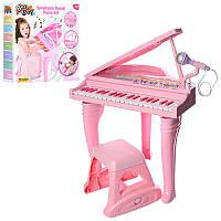 Детский музыкальный центр синтезатор 37 клавиш на ножках со стульчиком, детское пианино со стульчиком, WinFun