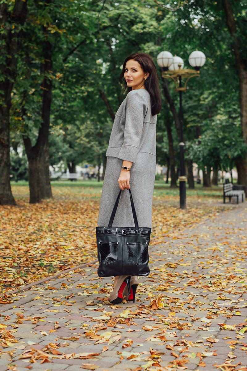 Женская кожаная сумка 24 черный флотар/наплак 012401-0301-01