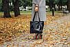 Женская кожаная сумка 24 черный флотар/наплак 012401-0301-01, фото 2