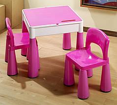 Комплект детской мебели стол 2в1 и 2 стульчика Tega Mamut розовый, подходит для Lego