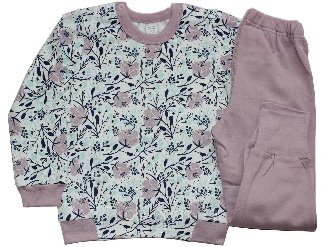 425622adb2dc0 Пижама теплая для девочек, белая со светло-сиреневым, цветы, рост 104 см