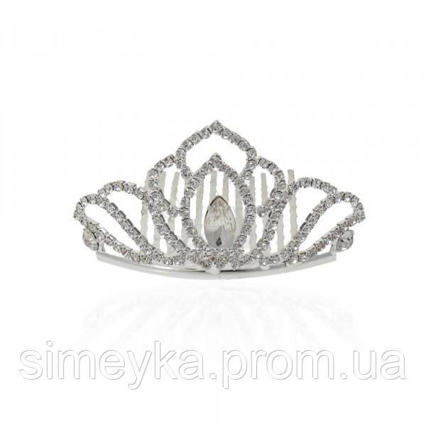 Діадема (корона, тіара) на гребінці, довжина 7 см, висота 4,2 см