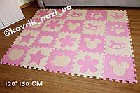 Игровой коврик пазл в детскую 120*150 см (20 шт, розовый, бежевый)