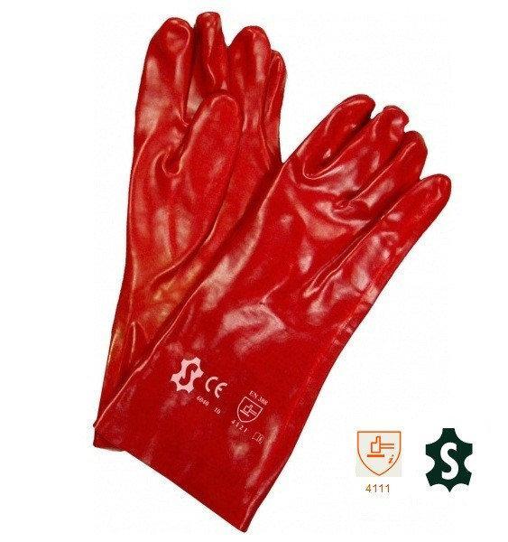 Перчатки ПВХ красные, 40 см
