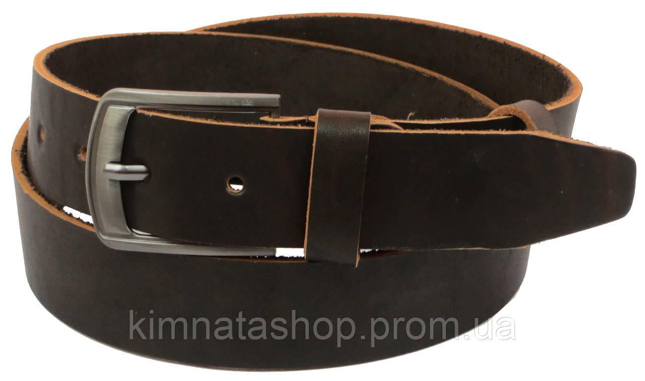 Мужской кожаный ремень под джинсы Skipper 1136-38 коричневый ДхШ: 129х3,8 см.