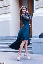 Элегантное платье асимметрия полуприталенное гипюр украшение изумрудного цвета, фото 2