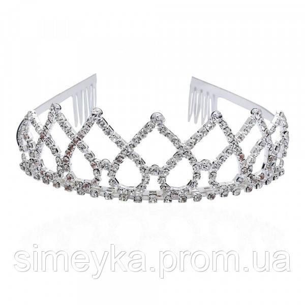 Діадема (корона, тіара) на обручі з гребінцями, довжина 12 см, висота 4 см