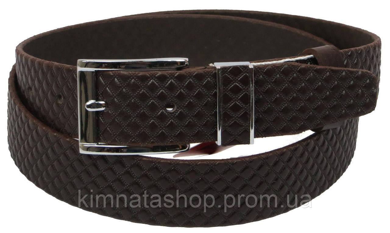Мужской кожаный ремень под брюки Skipper 1132-35 коричевый ДхШ: 130х3,5 см.