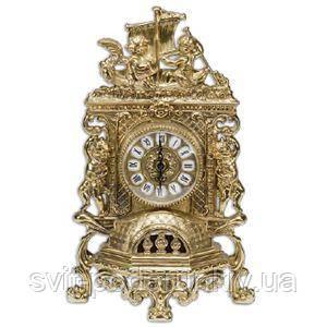 Бронзовые каминные часы - фото