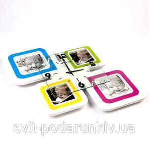 Настенные часы с рамками для фотографий - фото