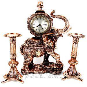 Часы для камина в виде статуэтки слона - фото